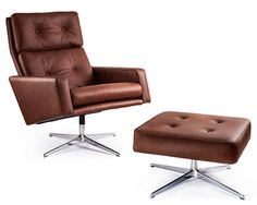 I know the company selling this do a number of reproduction design classics in their range, but this Robin Day Leo Chair and Ottoman is an Upholstered Arm Chair, Chair And Ottoman, Robin Day, Mid Century Design, Leather Sofa, Vintage Decor, Mid-century Modern, Living Spaces, Furniture Design