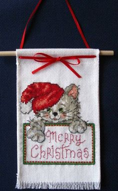 """Excited to share the latest addition to my #etsy shop: New Completed Cross Stitch Small Xmas Hanger """"Merry Christmas Cat"""" Measures 4.25x7.25 http://etsy.me/2jO9Fxn #supplies #red #christmas #crossstitch #white #aidafabric #handcrafted #crossstitching #new"""
