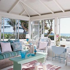 Pastel colors in a coastal living room