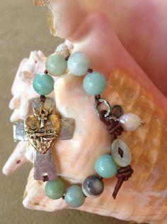 Hammered Sideways Cross Bracelet Amazonite by HappyGoLuckyJewels, $52.00