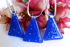 Blue Fused Glass Christmas Tree Ornament by bprdesigns on Etsy