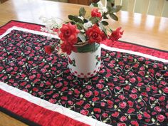 Valentine Quilted Table Runner of Hearts by SweetDreamsbyMoosie