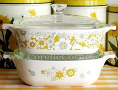 """""""My"""" Corelle pattern- Floral Bouquet from the late 60's, early 70's. Real Pyroceram Corning Ware rocks!"""