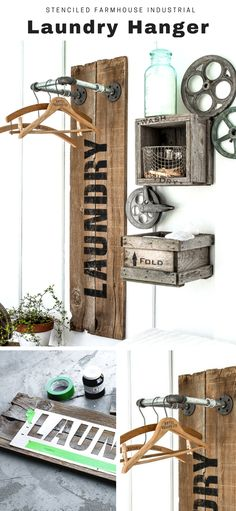 Create this stenciled farmhouse industrial laundry hanger with scrap wood, pipes and Funky Junk's Old Sign Stencils - Laundry. Click for full tutorial on funkyjunkinteriors.net