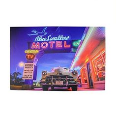 Felices Pascuas Collection LED Lighted Famous Blue Swallow Motel with Classic Car Canvas Wall Art 15.75 inch x 23.75 inch