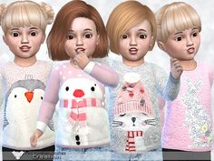 The Sims Resource: Cute Sweaters For Toddler by Pinkzombiecupcake • Sims 4 Downloads