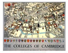 Poster produced for British Railways (BR) to promote rail travel to the historic university city of Cambridge cm) Fine Art Print Framed, Poster, Canvas Prints, Puzzles, Photo Gifts and Wall Art Cambridge College, City Of Cambridge, Cambridge University, Train Posters, Railway Posters, Ceiling Painting, National Railway Museum, Pictorial Maps, Pub