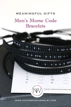 CUSTOM Morse Code bracelet gift for men. Personalized graduation gift for son, brother. Long distance relationship gift for #boyfriend with secret message.This handmade, loom beaded Morse Code bracelet is made with hight quality Toho beads, waterproof waxed string and sliding clasp. It is easy to adjust in size and makes a perfect gift for individuals and couples, for men and women of all ages. #Bracelets can be customized as can the secret Morse Code message. #morsecodebracelets #beadedjewelry Beaded Wrap Bracelets, Beaded Jewelry, Presents For Your Boyfriend, Long Distance Relationship Gifts, Personalized Graduation Gifts, Morse Code Bracelet, Memorial Jewelry, Meaningful Gifts, Bracelet Making