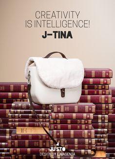 "NEW ENTRY IS J-TINA. A little JU'STO ""messenger"" bag."
