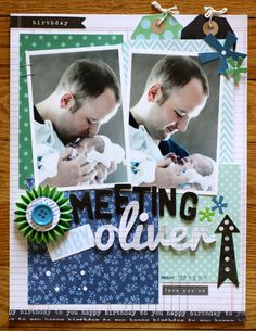Sentimental Father's Day Scrapbook Layout via @justem for @Pebbles Inc. using #SpecialDelivery #BirthdayWishes collections #scrapbooking