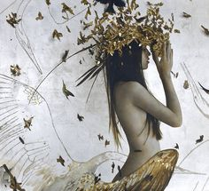Golden Leaves and Women by Brad Kunkle