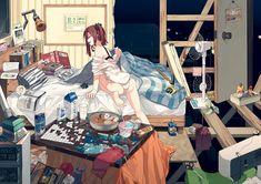 barefoot bed book bra brown_hair drink fan hitomai open_shirt original panties shirt underwear