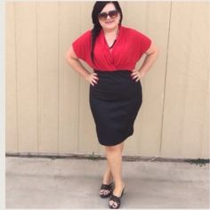 """LISTING Red & Black Dress Lovely and elegant. Wear this to church or to work. Or dazzle your new date! ️Measures 40"""" long and 1X is 26""""  PTP, 2X is 27"""" , 3X is 28"""". Model is wearing a 1X. Also comes with a detachable black beaded necklace that can be worn with any other outfit. 93% poly, 8% spandex top piece and bottom piece is 74% poly, 25% rayon, 3% spandex. It is one piece. DD Dresses Midi"""