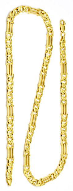 Foto 3, Tempel gewölbte Flachpanzer Goldkette massiv Luxus! Neu, K2186