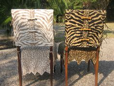 """These are my """"WILMA!""""Chair Suits® and are offered in two color ways and two skirt lengths. Stylish 'bone' shaped buttons are designed and hand crafted by June Smith Design. The jagged edged, lined jacket is made from tiger striped chenille with a vertical band of leopard chenille at center back.  The jagged edged, lined skirts are made from leopard print chenille.  Each set is custom made to fit your chair and are dry clean only."""