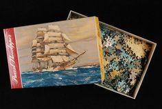 """Legpuzzel Van Nelle in doos: """"Theeclipper"""", schip op zee"""