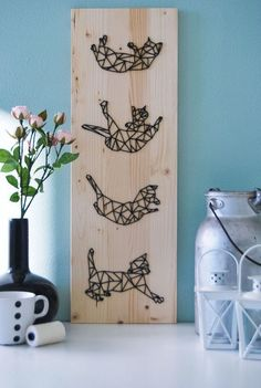 unique Geometric Tattoo – awesome Geometric Tattoo – Geometric Cat Fall Artwork Cat Fall Decor di Quantize… Check more at String Art Diy, Diy And Crafts, Arts And Crafts, Nordic Tattoo, Cat Art, Fall Decor, Tatting, Crafty, Decoration