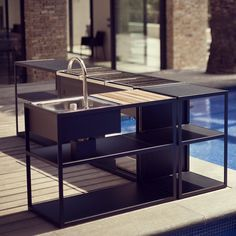 Our outdoor kitchen products are all elegant practical and influenced by minimalism. All pieces are beautiful when combined into a group. This leaves room for creativity as well as individuality when creating an outdoor kitchen by Röshults. #outdoorkitchen #bbq #archilovers by roshults