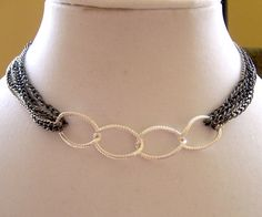 chain choker black and silver chain necklace by EarthlieTreasures, $29.95