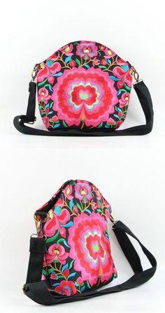 Women's Pink Floral Boho Style Messenger Bag