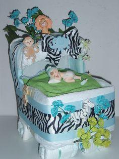 Diaper Safari Bassinet Baby Shower Centerpiece Gift Girl or Boy Diaper Cake   eBay