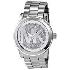 Michael Kors Runway Crystal Pave Ladies Watch ($158) ❤ liked on Polyvore featuring jewelry, watches, accessories, bracelets, michael kors, oversized wrist watch, water resistant watches, oversized jewelry, analog watches and crystal jewellery