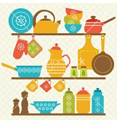 Kitchen shelves vector. Retro by fireflamenco on VectorStock®