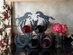Wine rack made of Horse Shoes!