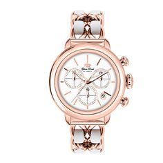 Glam Rock Watches / Rose Gold IP Stainless Steel Case Cover and Genuine Leather Rose Gold IP 2 Link Bracelet