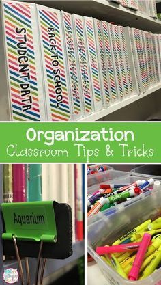 Classroom organization tips and tricks! Lots of ideas for organizing books, supplies,centers, papers and other resouces.