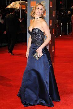 Jennifer Lawrence wore a plunging strapless dress by Stella McCartney.