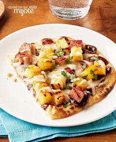 Pizzas hawaïennes sur pain naan au barbecue #recette
