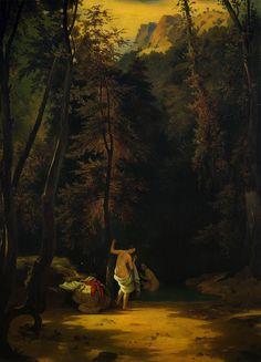 Carl Blechen, In the Park at Terni, oil on canvas, 105 x cm. Carl Blechen, Framed Prints, Canvas Prints, Art Prints, Hans Thoma, Expressionist Artists, Bath Girls, Romanticism, Poster Size Prints