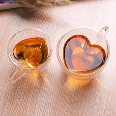 Aliciashouse Heart Shape Clear Transparent Double Layer Glass Tea Coffee Cup Mug -S: Amazon.co.uk: Kitchen & Home