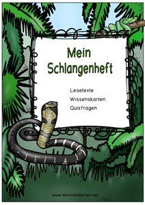 Schlangen: Lesetexte - Wissenskarten - Quizfragen
