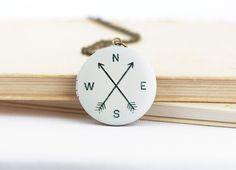 Travel Gift  Compass Locket  Bon Voyage  Gift by JacarandaDesigns