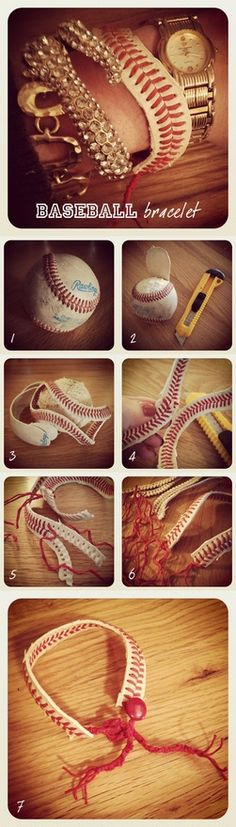 DIY Baseball Bracelet - I should make this for a couple of friends, but I would likely put chain on it with a clasp. I'm gunna do this with a softball!