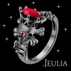 3.0 CT Ruby with Ruby Eyes Sterling Silver Skeleton Head Engagement Ring #jeulia #jeuliadesign #fashionjewelry