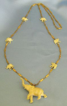 "Wonderful Vintage ""Trunks Up"" Elephant Necklace- 32 inches"