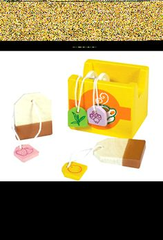 NEW! BOX OF WOODEN TEABAGS - KITCHEN SHOP PLAY FOOD TOY