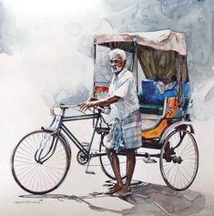 "Indian Watercolor Artist- ""Rajkumar Sthabathy"" 1975 - Fine Art and You - Painting Watercolor Landscape Paintings, Watercolor Artists, Watercolor Portraits, Landscape Sketch, Illustration Art Drawing, Art Drawings Sketches, Drawing Art, Composition Painting, India Art"