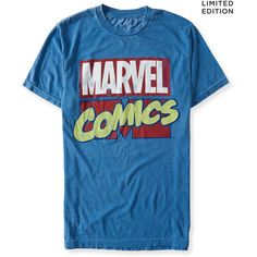 Aeropostale Marvel Comics Graphic T ($18) ❤ liked on Polyvore featuring tops, t-shirts, extreme blue, graphic tees, relaxed fit tops, blue t shirt, graphic design t shirts and relaxed fit tee