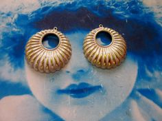 Gold Plated Frosted White Patina Brass Boho Style Hoop Stampings 1177WHT x2 by…