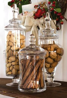kitchen island decor Our Apothecary Jar Set makes a lovely show of nuts, cinnamon sticks and ca. Kitchen Island Decor, Home Decor Kitchen, Kitchen Interior, Home Kitchens, Kitchen Island Centerpiece, Apothecary Jars Kitchen, Kitchen Jars, Kitchen Organisation, Organization
