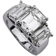 Three-Stone 18 Karat White Gold Emerald Cut Emerald and Diamond Ring For Sale at Engagement Solitaire, 3 Stone Engagement Rings, Engagement Ring Prices, Wedding Engagement, Wedding Bands, Emerald Cut Diamonds, White Gold Diamonds, Diamond Cuts, Diamond Rings