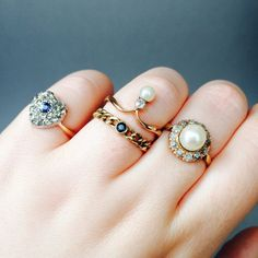 I think these are supposed to be engagement rings but I like them as everyday rings.  Really loving the multiple/stacked ring look these days