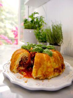 Sartu di Riso | Giada De Laurentiis | Food Network Italian rice dish, with meatball & tomato sauce filling, baked in a bundt cake pan.