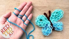 Easy Finger Knitting How To - DIY Yarn Butterfly. Easy Finger Knitting How To - Yarn Butterfly Project. My kids and I love to Finger Knit and are always looking for new easy Finger Knitting Project Ideas. Today we share with you an easy Finger Knitting Arm Knitting, Knitting For Kids, Knitting For Beginners, Knitting Patterns, Cowl Patterns, Crochet Patterns, Stitch Patterns, Finger Knitting Projects, Yarn Projects