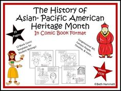 The History of Asian-Pacific American Heritage Month (Comic Book) - Amped Up Learning Comic Template, Templates, History Activities, Writing Strategies, Heritage Month, Library Programs, Asian American, Book Format
