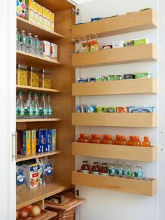 Multiply the capacity of any cabinet when you add storage to the interior side of the door. Six shallow shelves fit neatly between this door and the interior shelf fronts to offer space for single-file lines of little luxuries and kitchen dry goods. Pantry Storage, Door Storage, Pantry Organization, Built In Storage, Kitchen Storage, Storage Spaces, Storage Ideas, Extra Storage, Pantry Ideas